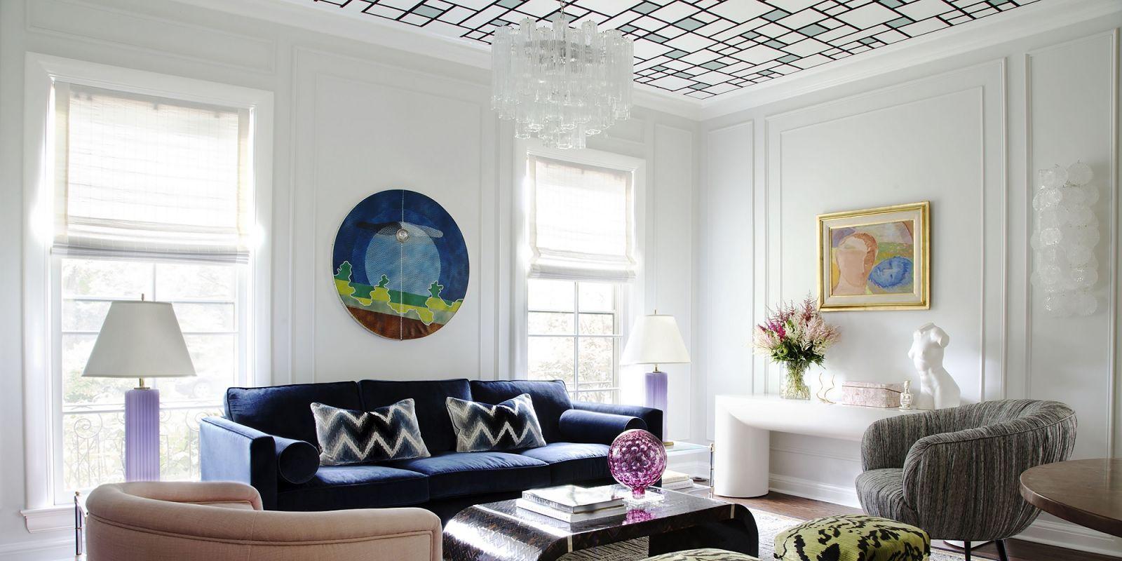контрастные обои, потолок, тренды, интерьер, 2020, фото