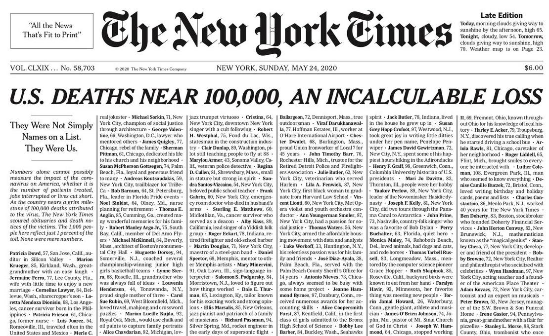 The New York Times на первой полосе поименно перечислила тысячу жертв ко...
