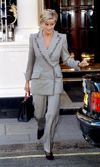 принцесса Диана, фото, брючный костюм, мода 90-х, монохромное решение