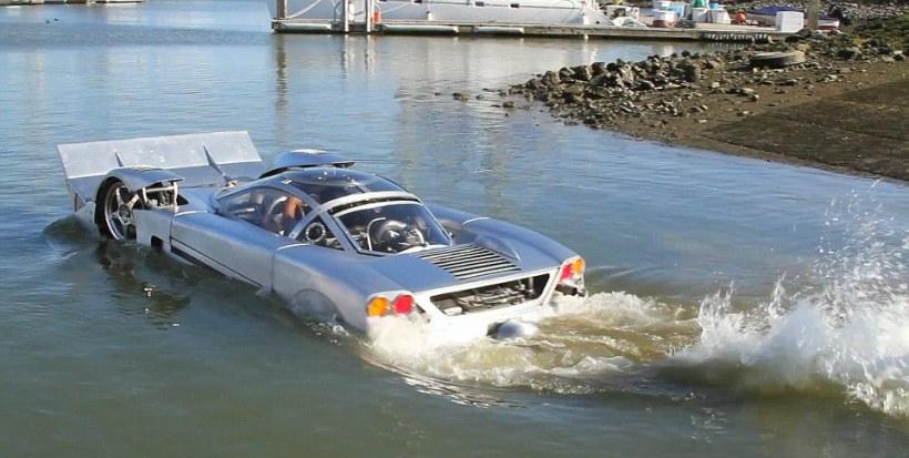 Запатентован плавающий автомобиль со втягивающимися колесами