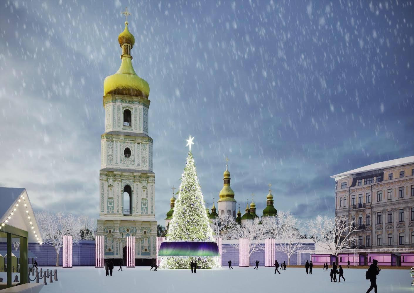 В Киеве на Софийской площади начали устанавливать главную елку страны