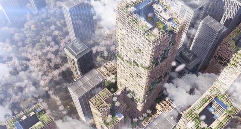 В Токио собираются построить 70-этажный деревянный небоскреб