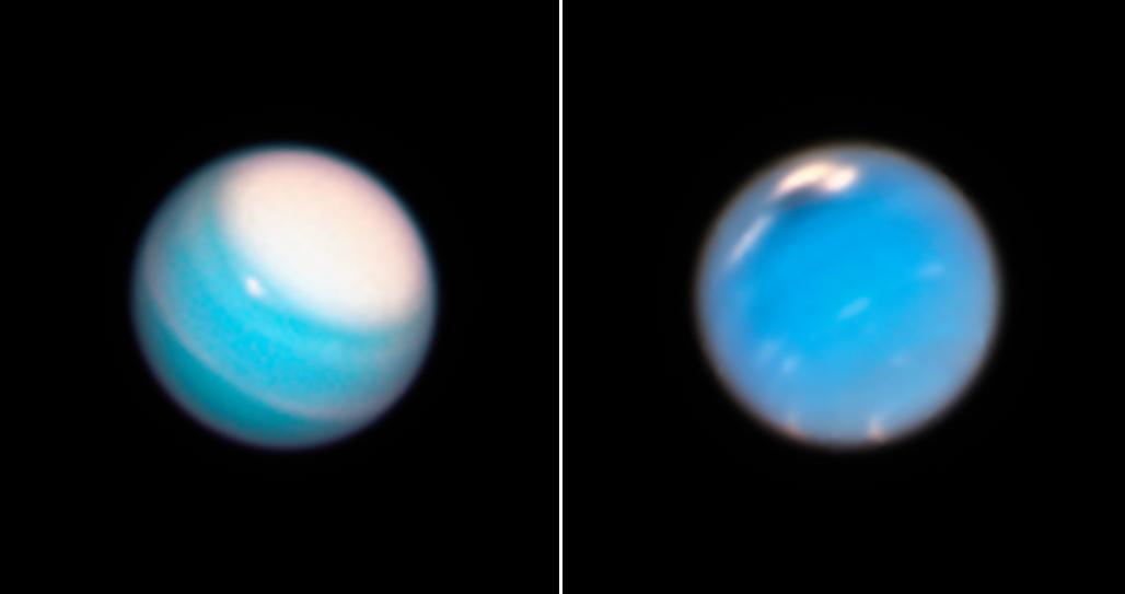 Телескоп Hubble сфотографировал штормы на Уране и Нептуне