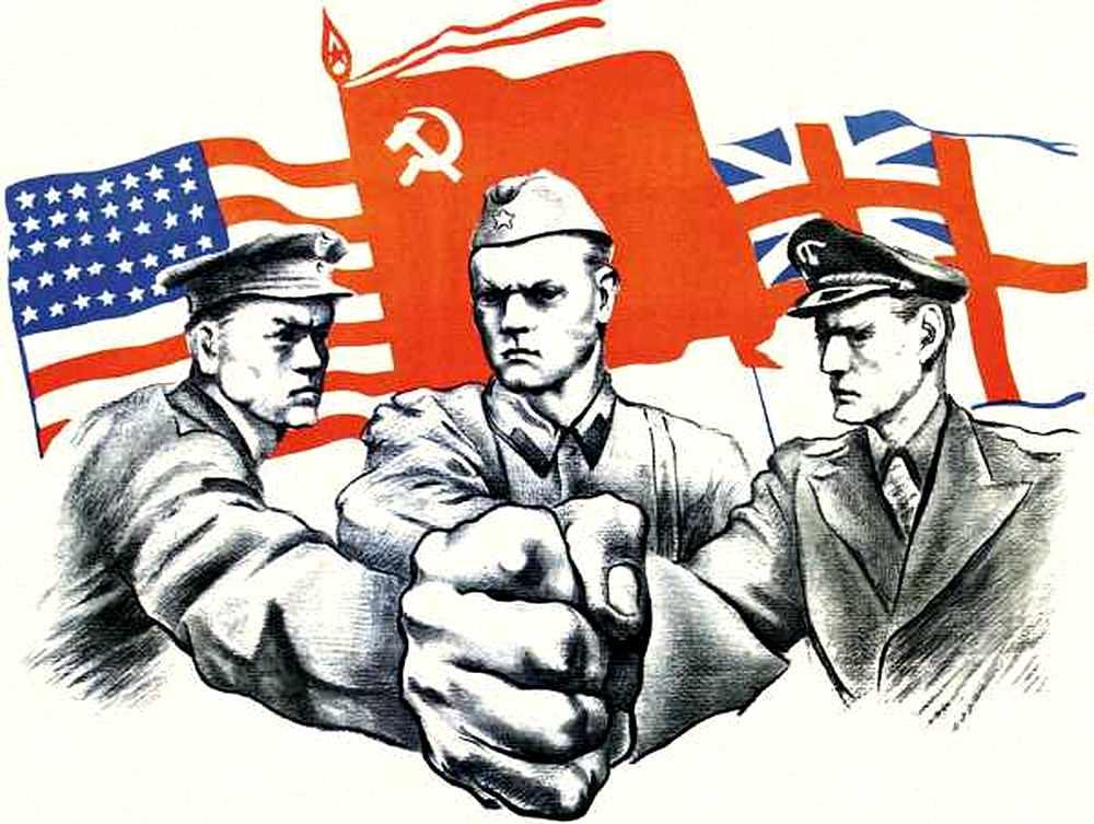 На американской монете, посвященной Второй мировой войне, среди союзнико...