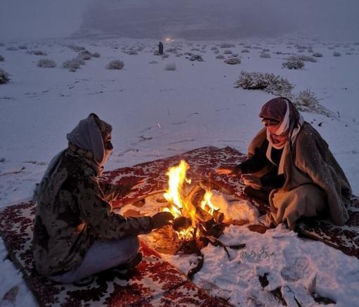 Верблюды и ковры в снегу. В Саудовскую Аравию заглянула зима со снегопад...