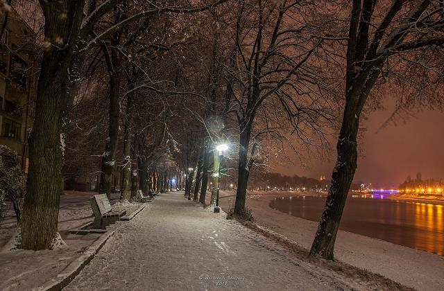 Рисковый житель Ужгорода прокатился по городу на лыжах
