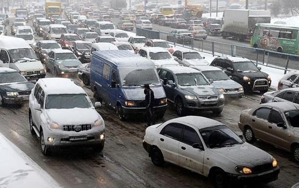 Из-за снегопада Киев остановился в пробках