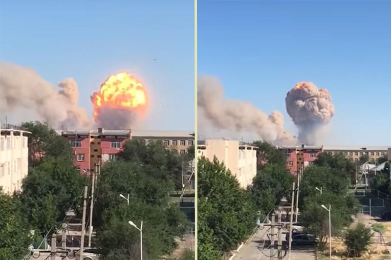 В Казахстане прогремели взрывы на военном арсенале, близлежащий город эв...
