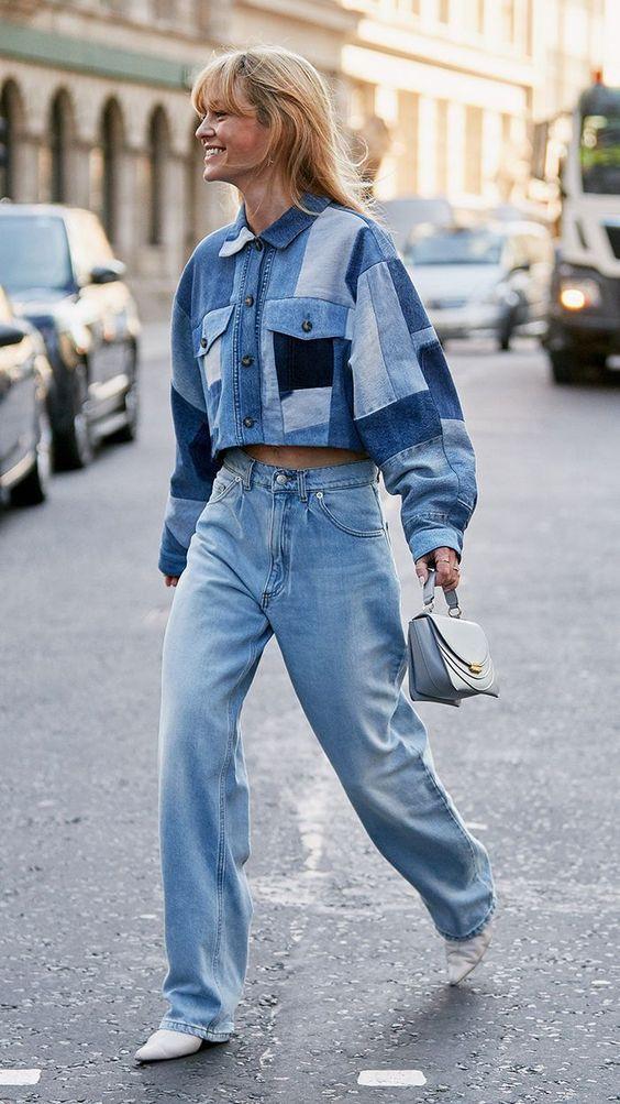 женская мода, лето 2020, деним, джинсовая одежда, тотал лук, фото
