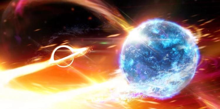 Черная дыра врезалась в таинственный объект, искривив пространство-время...