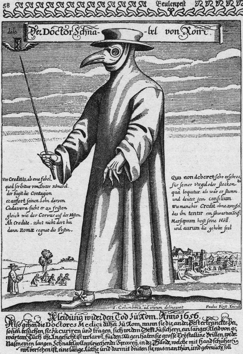 чумной доктор в защитном костюме, 1656