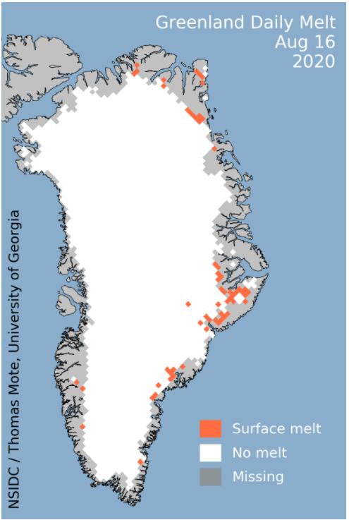 Карта таяния ледников в Гренландии 16 августа 2020 года