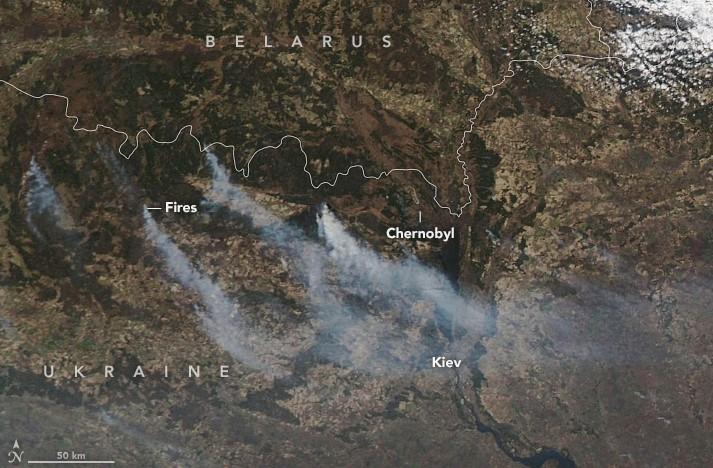 пожар, nasa, чернобыль, зона отчуждения, фото из космоса