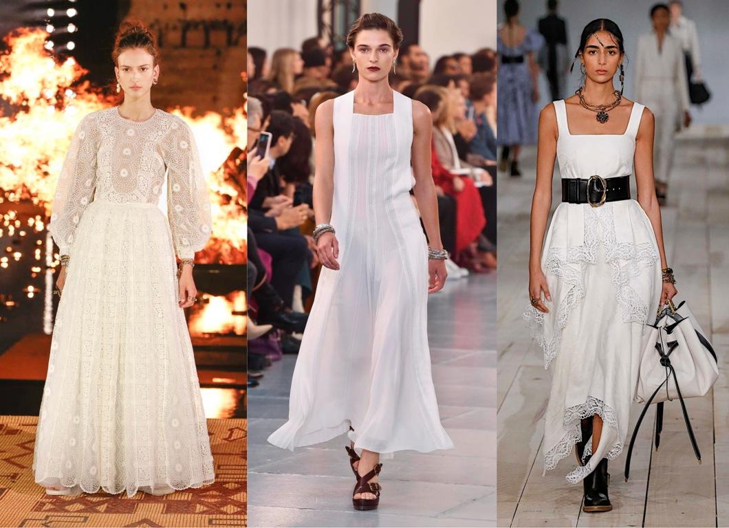 кружева, платья, белые платья, мода, лето 2020, фото