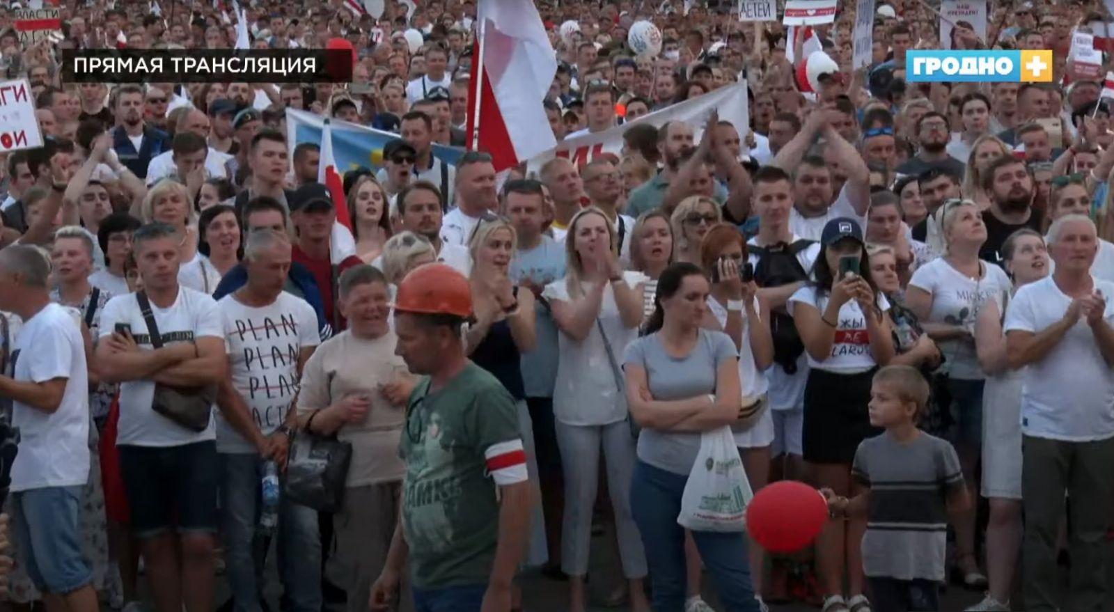 В белорусском Гродно госканал показал в эфире протесты