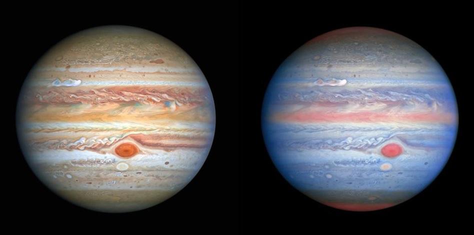 """Hubble сделал новые """"радужные"""" снимки Юпитера и увидел приближающуюся бу..."""