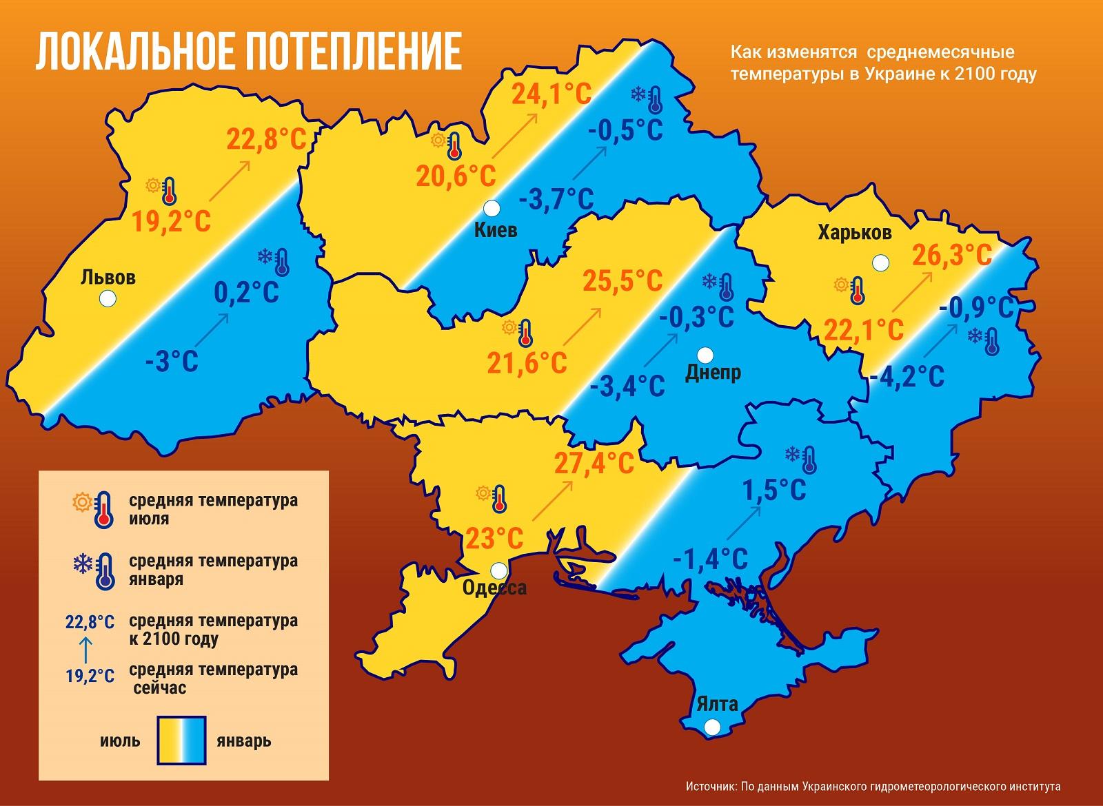 глобальное изменение климата, потепление, последствия глобального потепления для Украины, карта Украины