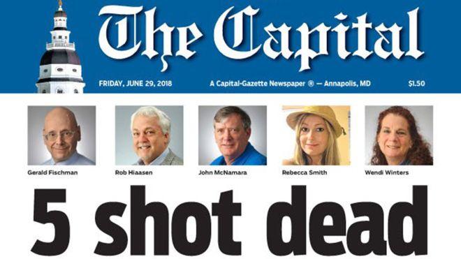 Американской газете, в которой погибли пять журналистов, дали специальну...