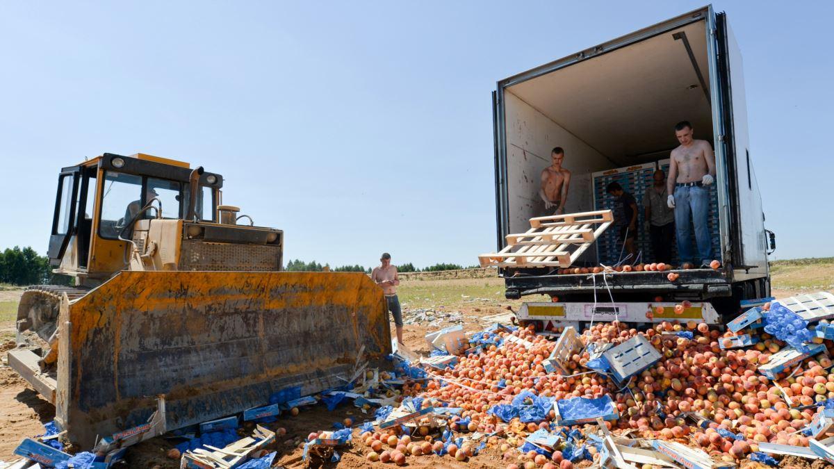 В России за пять лет под бульдозер отправили 36 тыс. тонн санкционных пр...