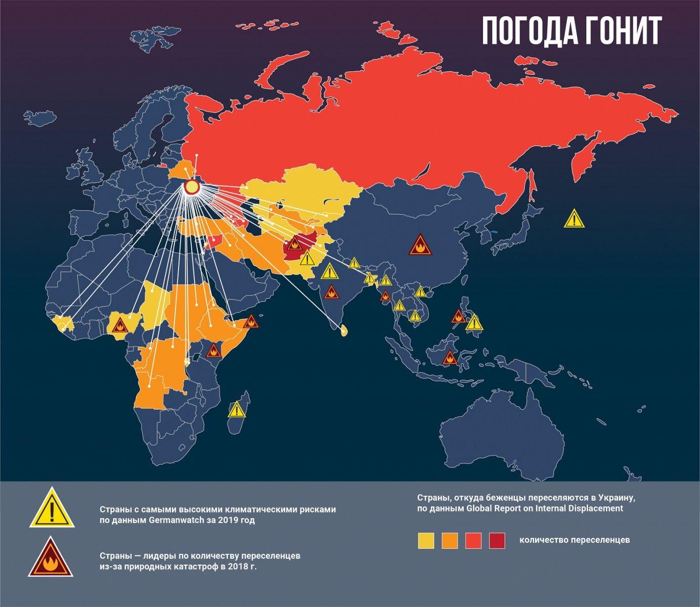 переселенцы, беженцы, климатические беженцы, карта, беженцы в Украину, климатические риски