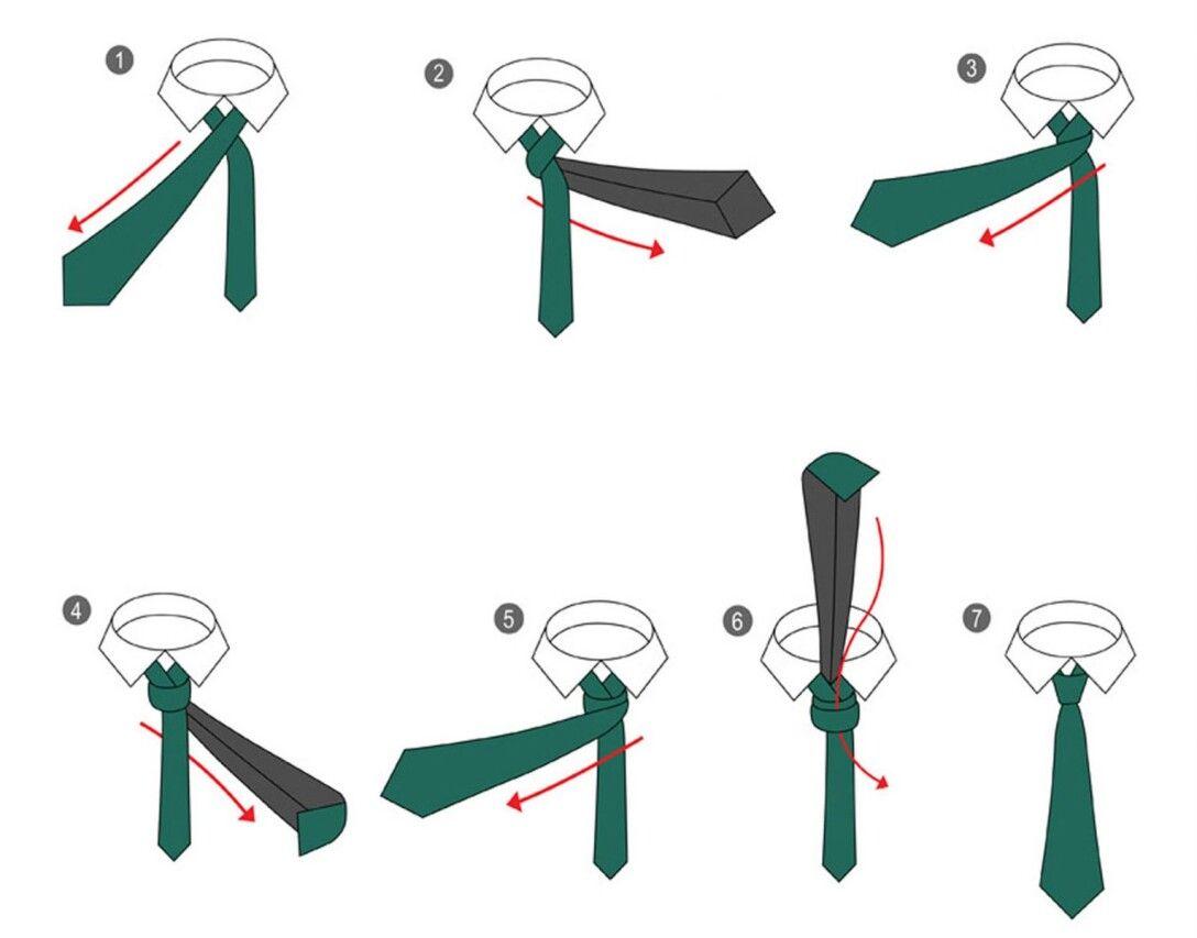 как завязать галстук, викторианский узел, пошагово, простой способ