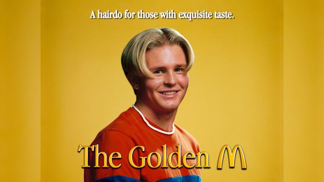 прическа, золотая арка, логотип Макдональдс