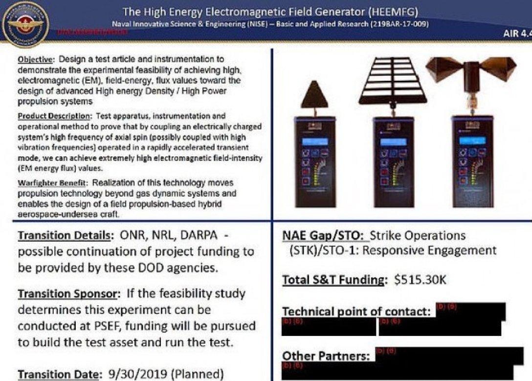 Генератор електромагнітного поля Пайса протестований дослідниками ВМФ