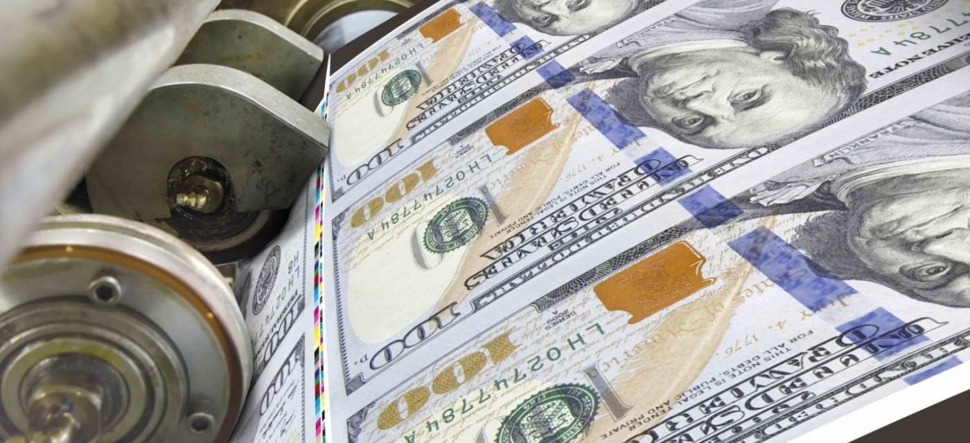 друкарський верстат, долари, жадібність