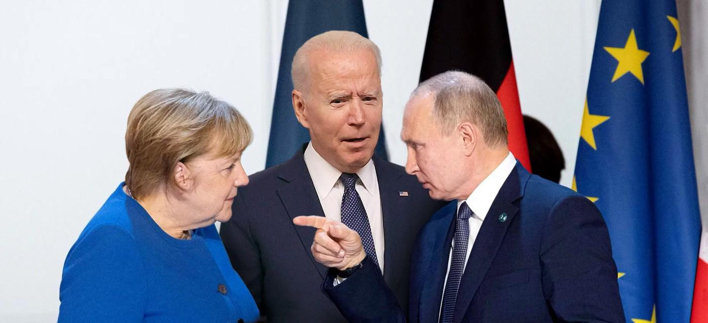 Джл Байден, Воадимир Путин и Ангела Меркель