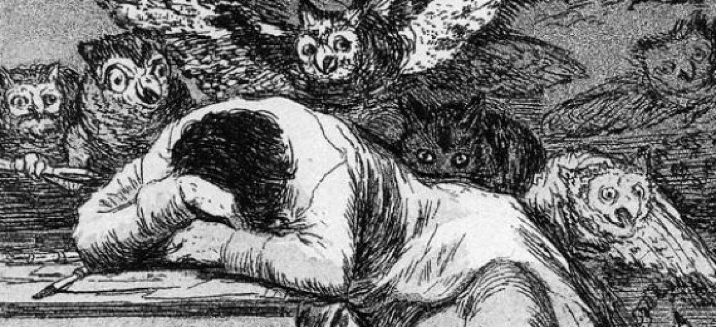 Фрагмент офорта Франсиско Гойа «Сон разума рождает чудовищ» из цикла «Капричос»