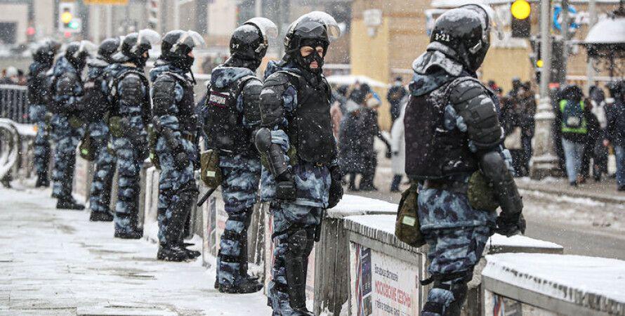 поліція, протести на підтримку Навального, 2021, акції протесту, зима, сніг, кордон