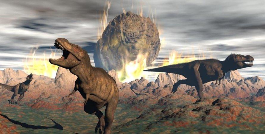 динозавры, астероид, смерть, рисунок