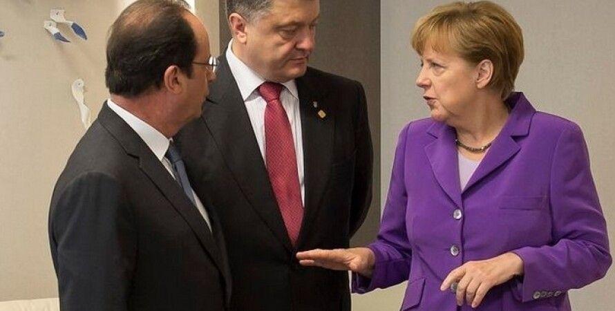 Франсуа Олланд, Петр Порошенко и Ангела Меркель / Фото: Немецкая Волна