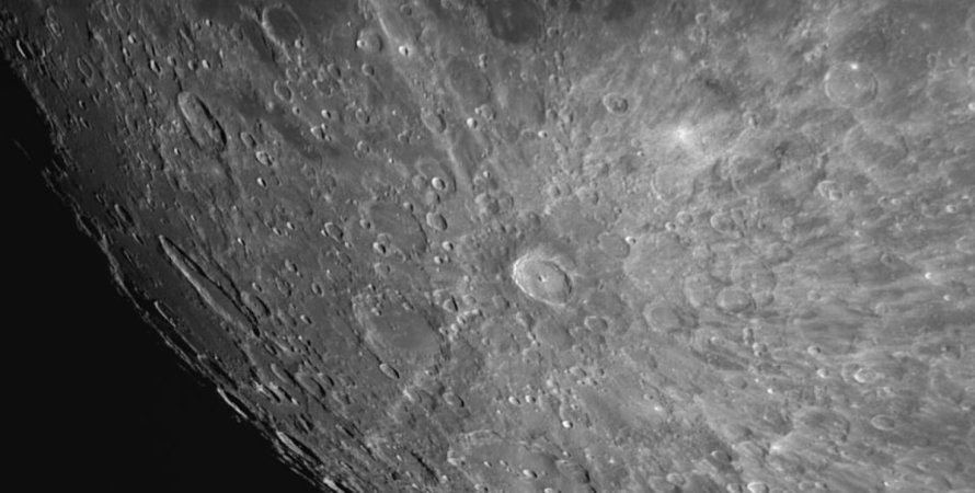 Луна, кратер Тихо, розовое суперлуние