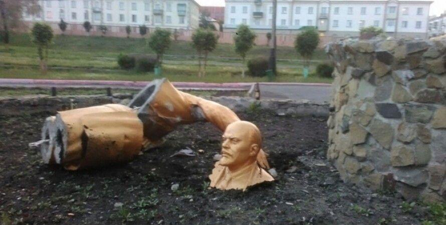 Разрушенный памятник Ленина / Фото: Facebook