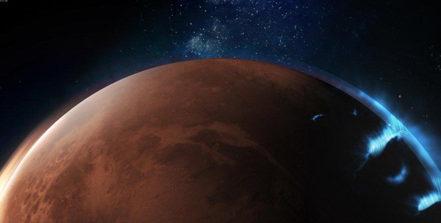 космос, Марс, поверхность, полярное сияние, фото