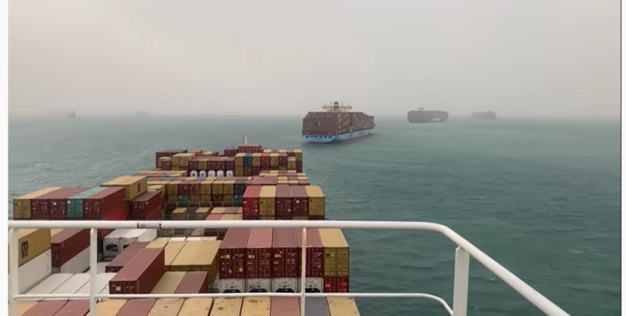 контейнеровоз, сів на мілину, суецький канал, блокування, Ever Given, фото