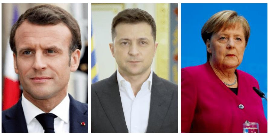 Эмманюэль Макрон, Владимир Зеленский, Ангела Меркель, встреча в Париже, эскалация на Донбассе