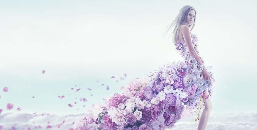 девушка, платье из цветов, шлейф, аромат, подарок девушке на 8 марта
