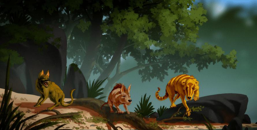 доісторичні істоти, малюнок, дерева