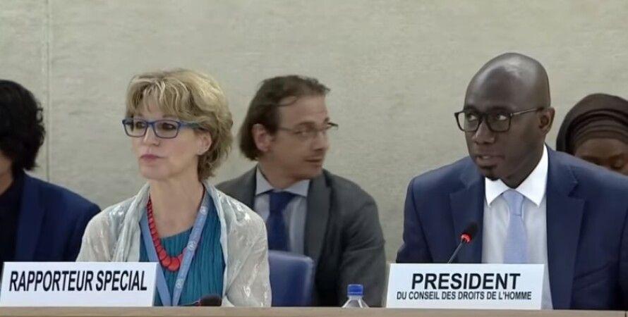 Спецдокладчица ООН Агнес Калламар. Скриншот видео Euronews.