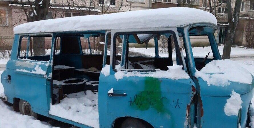 автобус, снег