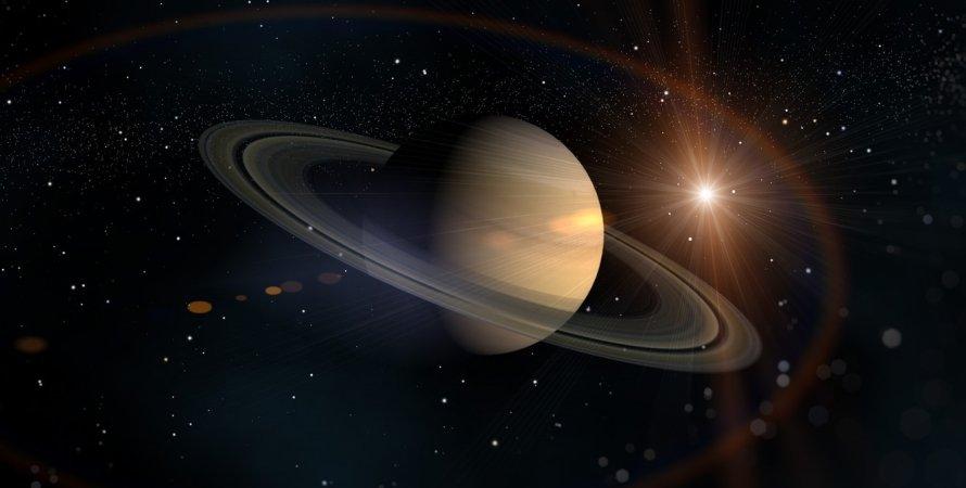 Сатурн, космос, кольца, Солнце, иллюстрация