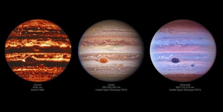 Юпитер, ультрафиолет, инфракрасные волны, видимые волны, фото