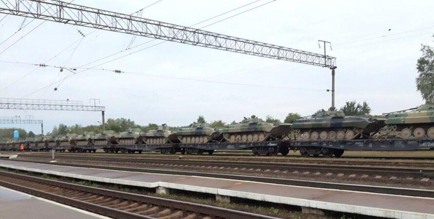Российская военная техника на станции Верейцы, Беларусь, 21 сентября 2017