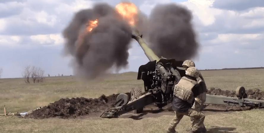 навчання армії, стрілянина артилерії