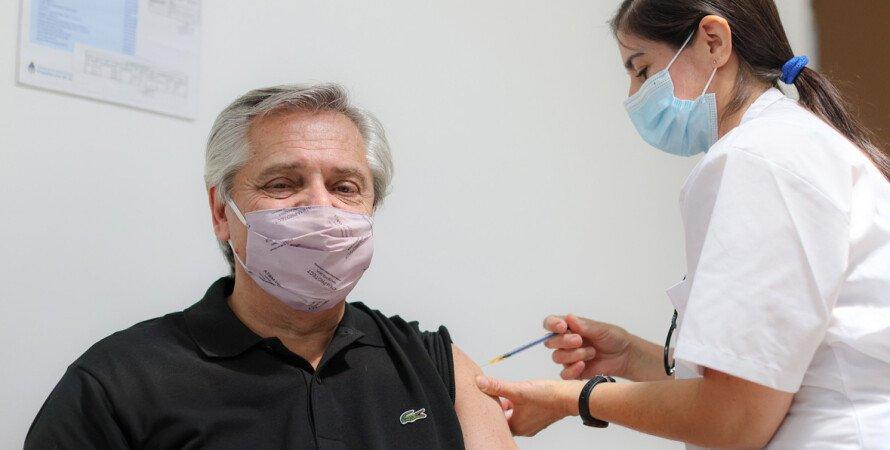 Альберто Фернандес, Спутник V, укол, вакцинация, президент Аргентины