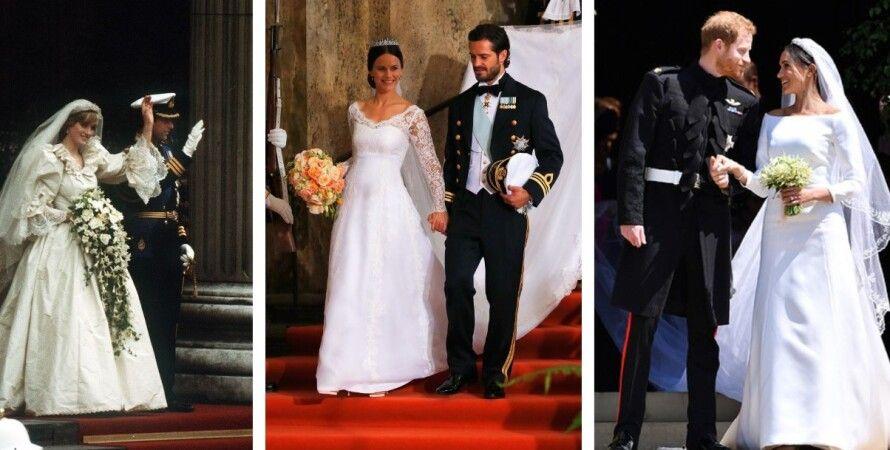 королевские свадьбы, принцесса Диана, Меган Маркл, принц Гарри, коллаж