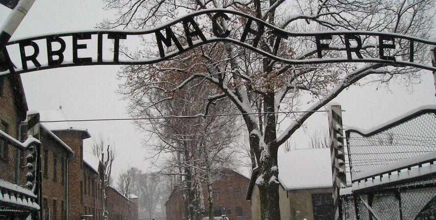 """Ворота лагеря """"Аушвиц"""" с надписью """"Труд освобождает"""" / Фото: Wukipedia"""