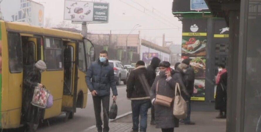 Киев, общественный транспорт, карантин, маршрутка